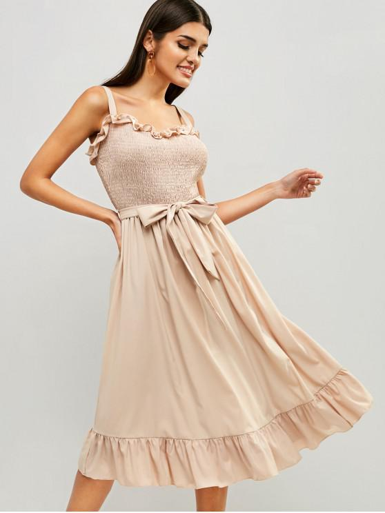 outfits Smocked Flounce Belted Dress - CAMEL BROWN S