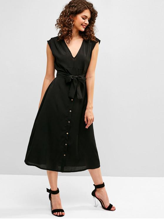 Robe Ligne A Ceinturée Simple Embellie de Boutons - Noir S