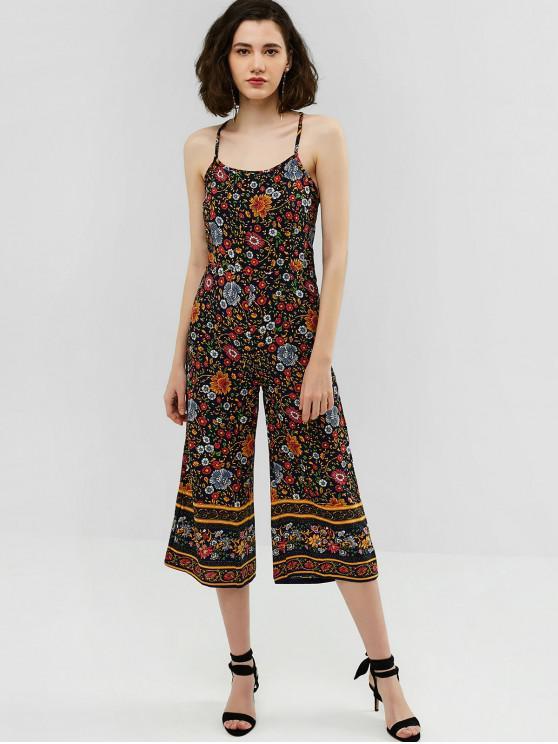 hot Criss Cross Floral Print Wide Leg Jumpsuit - BLACK M