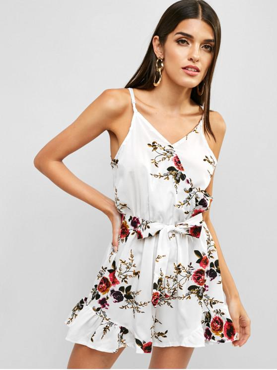 fashion Floral Print Ruffles Belted Cami Romper - WHITE L