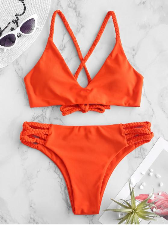 shops ZAFUL Braided Criss Cross Bikini Set - ORANGE M