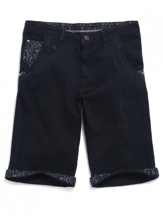 Shorts Jean Jean con estampado geométrico - Azul de Pizarra Oscuro 34