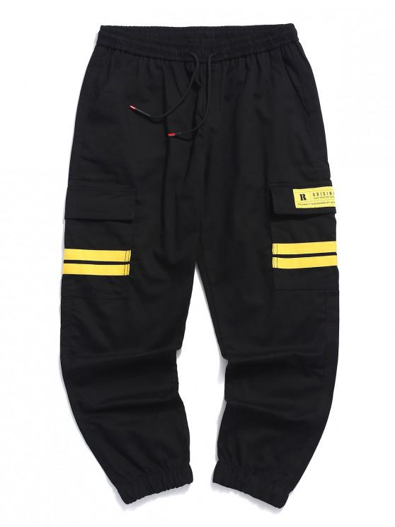 online Striped Design Applique Casual Jogger Pants - BEE YELLOW L