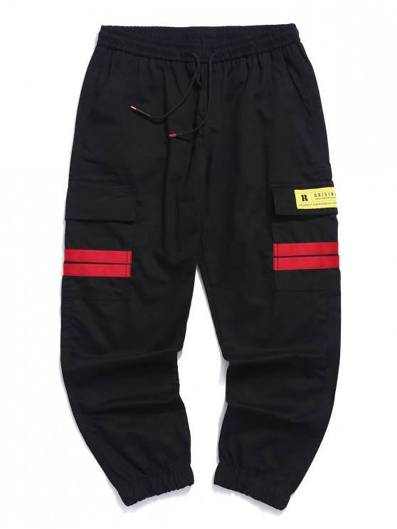 hot Striped Design Applique Casual Jogger Pants - RED S