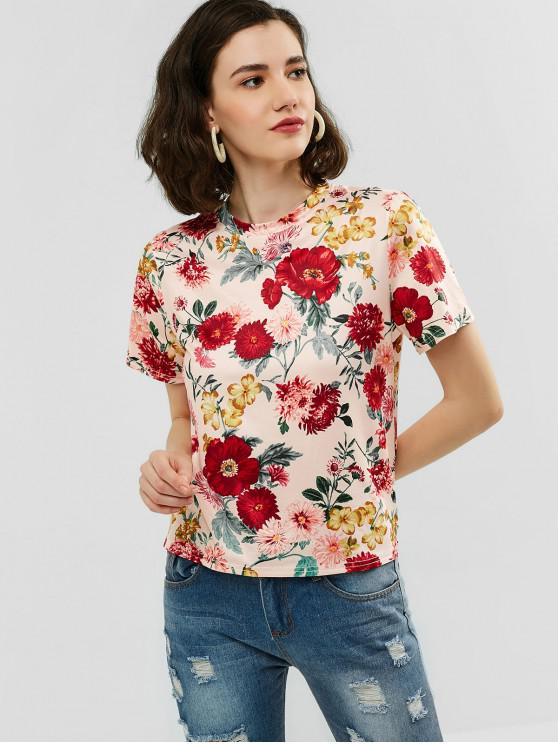 fancy Flower Print Short Sleeves Tee - ORANGE PINK M