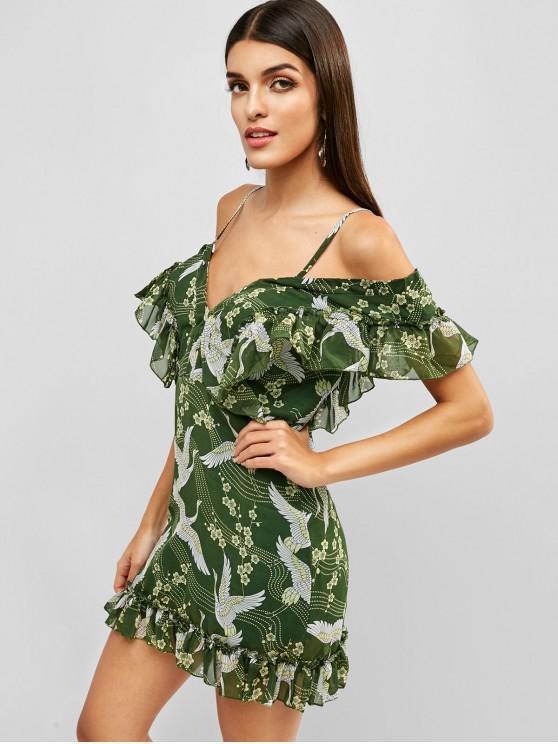 trendy Ruffles Crane Floral Cold Shoulder Dress - GREEN M