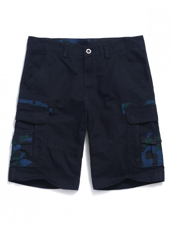 fashion Camouflage Print Applique Cargo Shorts - MIDNIGHT BLUE 38