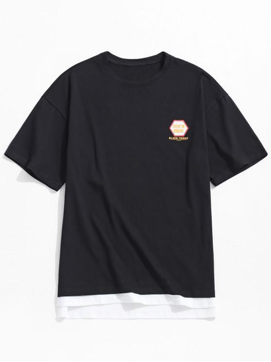 online Side Slit Letters Print Faux Twinset T-shirt - BLACK 2XL