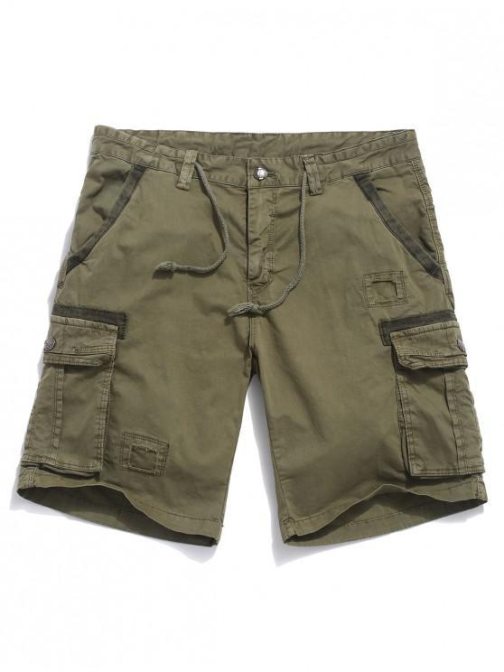 Shorts de carga con cordón de patchwork - Caqui 34