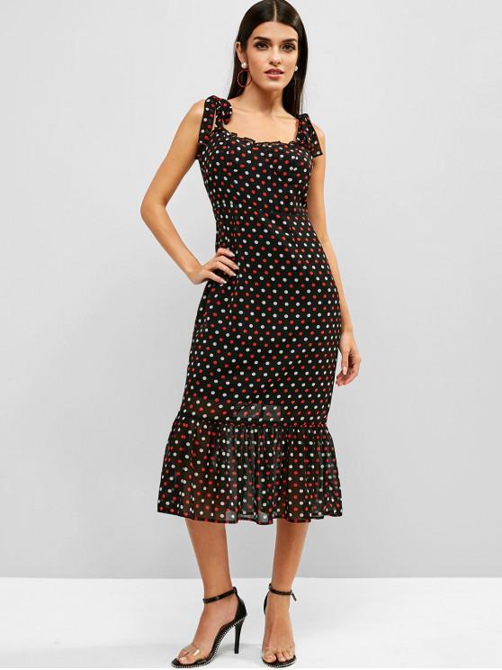 new ZAFUL Polka Dot Tie Shoulder Chiffon Midi Dress - BLACK XL