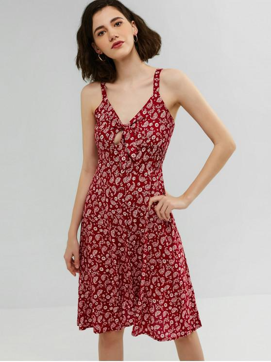sale ZAFUL Knot Printed Sundress - LAVA RED S