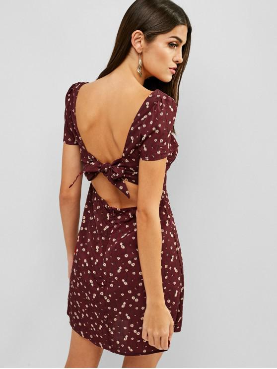 fashion ZAFUL Knotted Back Floral Print Sweetheart Dress - RED WINE M