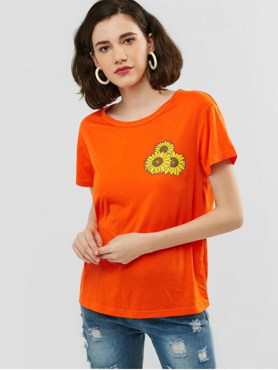 shops ZAFUL Sunflower Graphic Neon Tunic Tee - ORANGE L