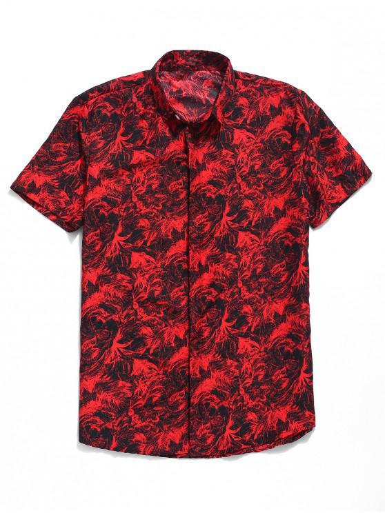 ladies Palm Leaf Print Button Up Shirt - RED L