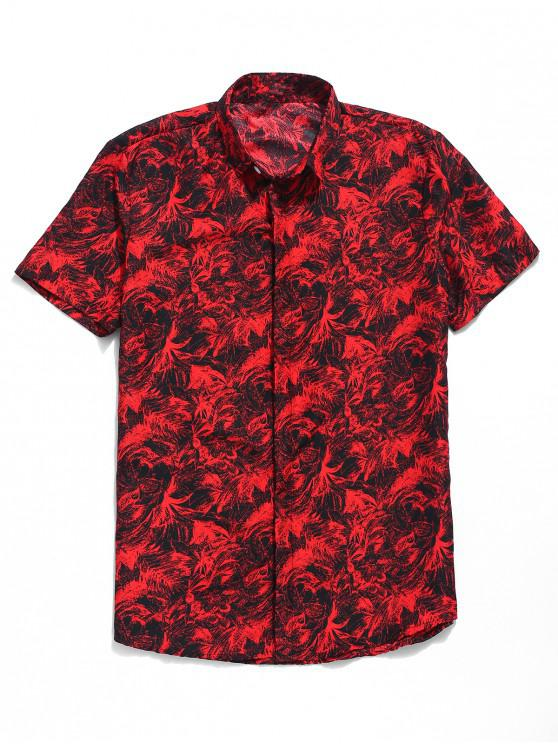 lady Palm Leaf Print Button Up Shirt - RED XL