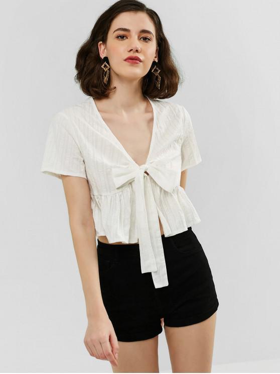 buy Tie Front Crop Plain Blouse - WHITE S