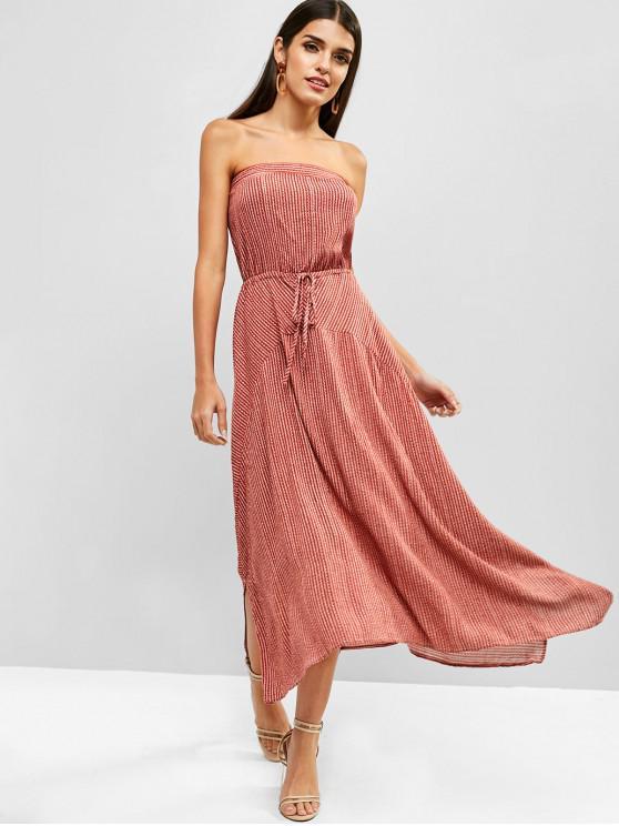 sale Striped Handkerchief Bandeau Dress - RED M