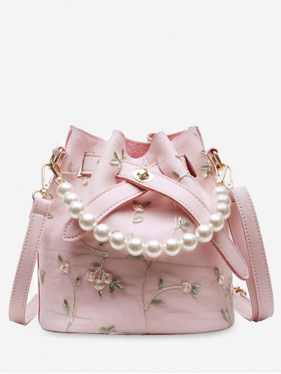 shops Flower Lace Bucket Crossbody Bag - PINK