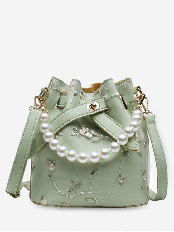 women's Flower Lace Bucket Crossbody Bag - GREEN