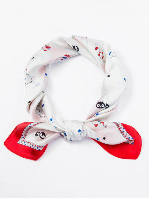 chic Cat Dog Pattern Square Scarf - WHITE  Mobile