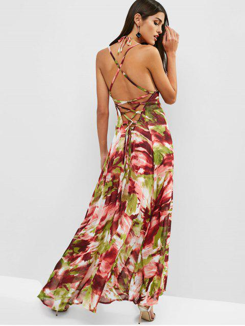 latest Open Back Printed Criss Cross Maxi Dress - MULTI S Mobile