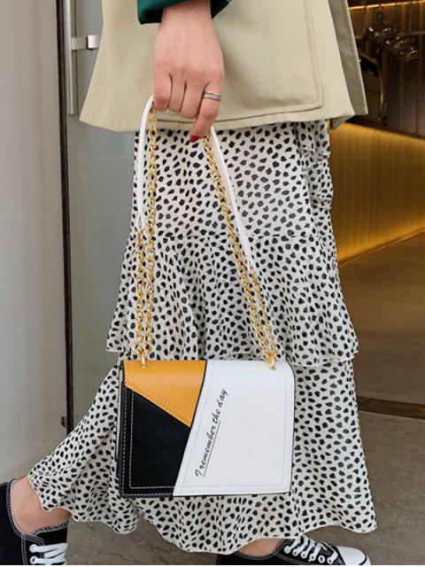 women Square Character Jointed Shoulder Chain Bag - WHITE  Mobile