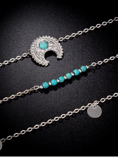 online Ethnic Moon Multilayered Necklace - SILVER  Mobile