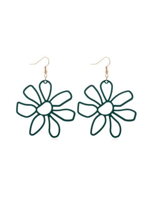 fancy Hollow Flower Hook Earrings - MEDIUM AQUAMARINE  Mobile
