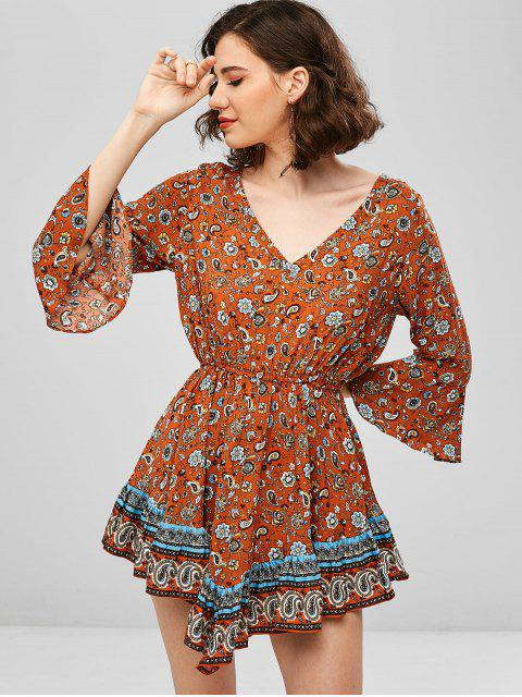 online ZAFUL Flare Sleeve Paisley Flounce Backless Dress - TIGER ORANGE M Mobile