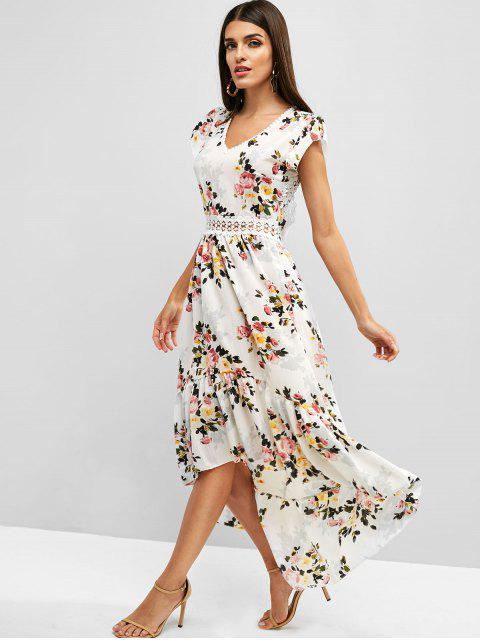 latest Cut Out Flower High Low Boho Flounce Dress - WHITE L Mobile