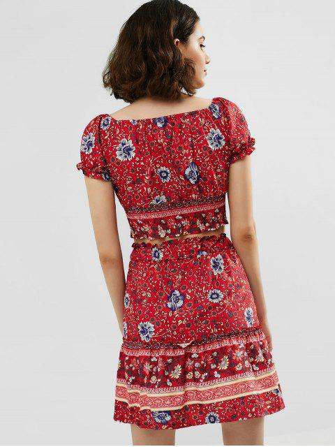 sale Floral Print Top and Flare Skirt Set - CHESTNUT RED M Mobile