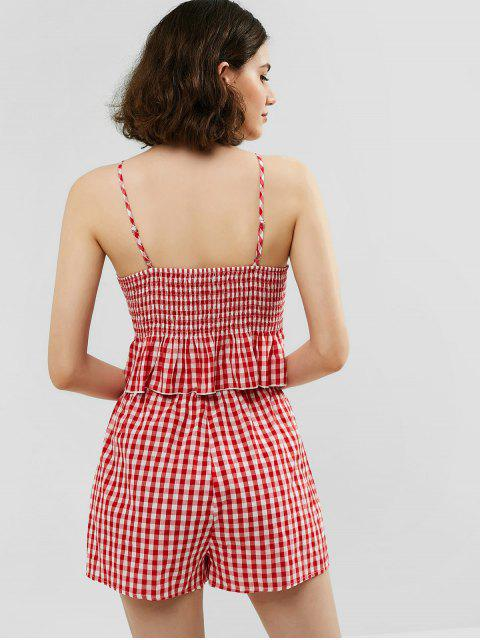 hot ZAFUL Knotted Gingham Peplum Top and Shorts Set - LAVA RED S Mobile