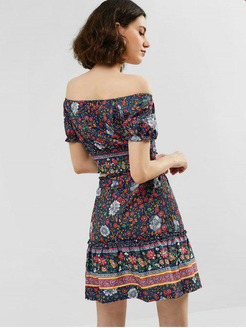 women's Floral Print Top and Flare Skirt Set - CADETBLUE L Mobile