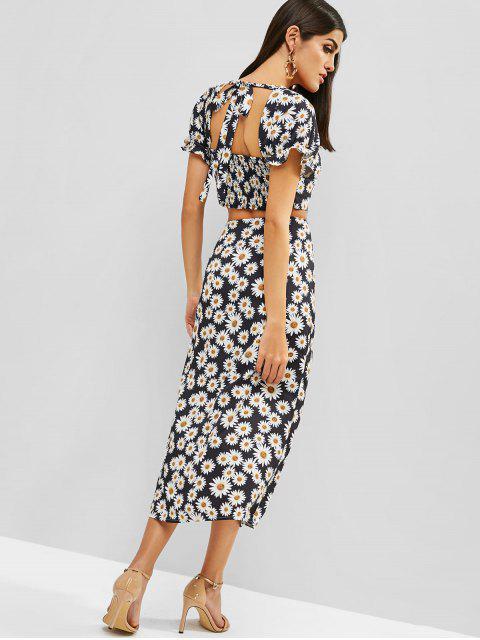 shops ZAFUL Daisy Smocked Knotted Slit Skirt Set - BLACK S Mobile