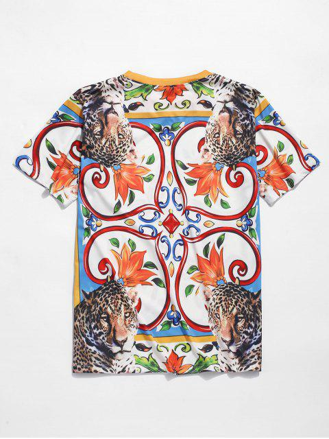 lady Floral Leopard Print Short Sleeves T-shirt - MULTI 2XL Mobile