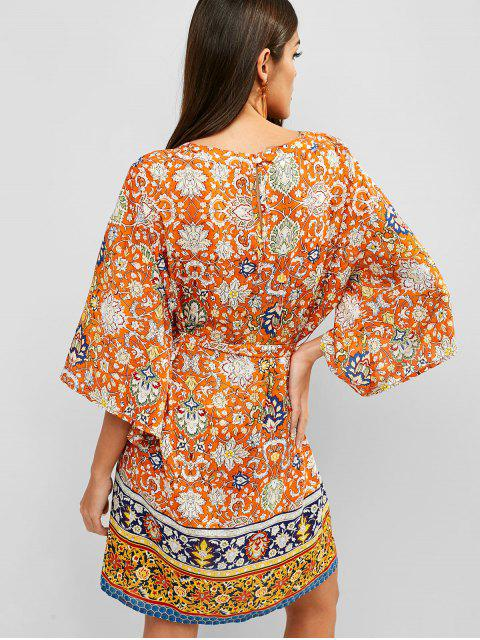 affordable ZAFUL Belted Print Bohemian Shift Dress - MULTI-A S Mobile