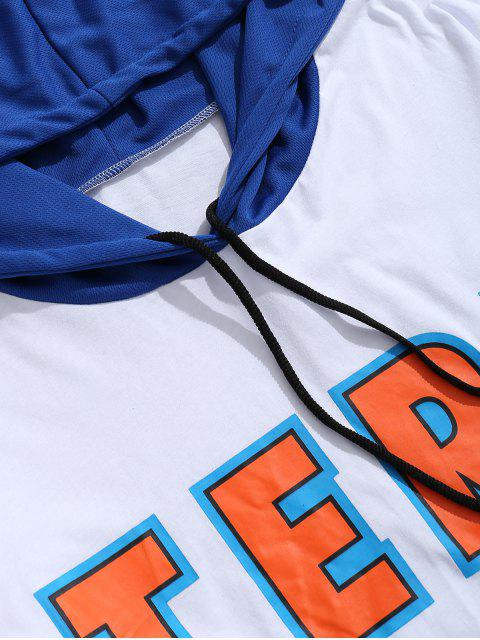 best Tennis Rackets Letters Print Hooded T-Shirt - WHITE 2XL Mobile