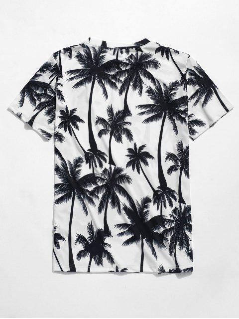 unique Palm Trees Print Beach T-shirt - WHITE 2XL Mobile