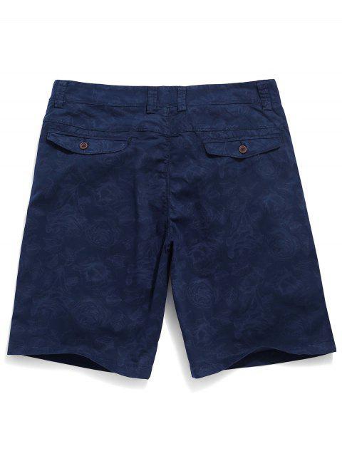 online Flowers Print Zipper Fly Casual Shorts - COBALT BLUE 38 Mobile