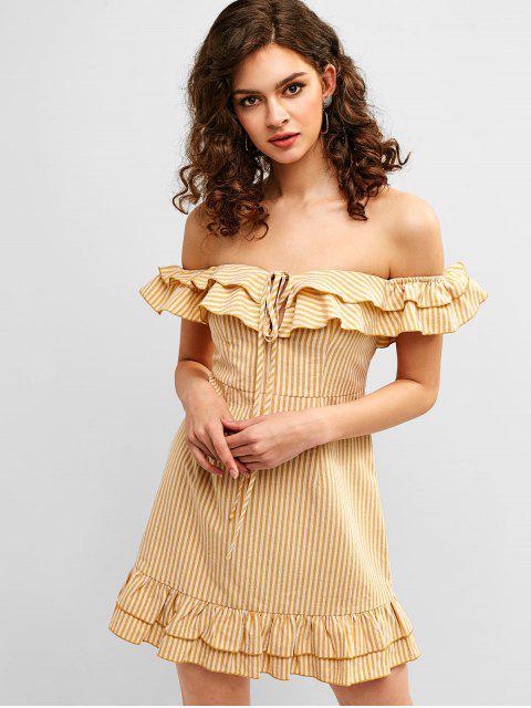 latest Ruffle Striped Off Shoulder Dress - MULTI-A S Mobile