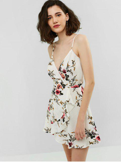 shops ZAFUL Surplice Flower Flounce Cami Dress - WHITE S Mobile