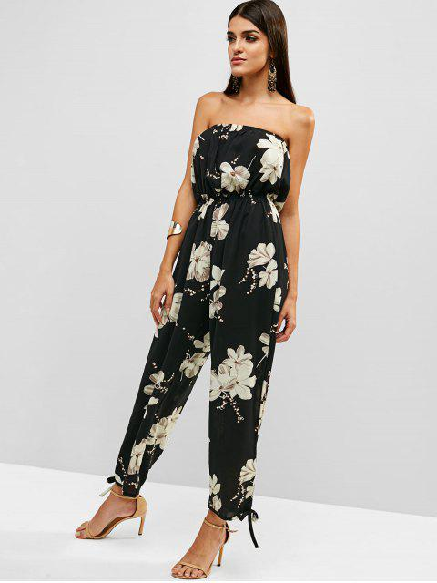 women's Floral Print Strapless Wide Leg Jumpsuit - BLACK M Mobile