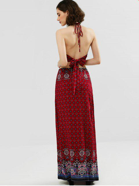 best ZAFUL Halter Printed Top and Maxi Skirt Set - CHESTNUT RED M Mobile