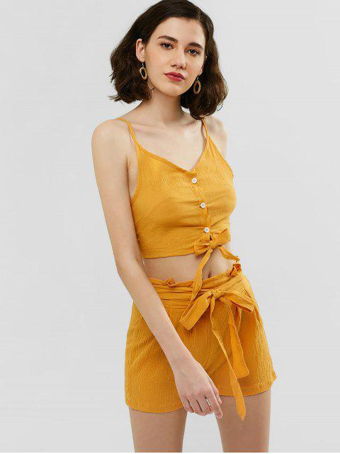 women Buttoned Cami Top and Knotted Shorts Set - GOLDENROD XL Mobile