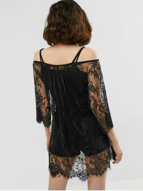 new See Through Lace Cover Up Dress - BLACK ONE SIZE Mobile