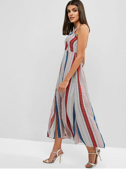 shop Lace Up Geometric Slit Maxi Dress - MULTI M Mobile