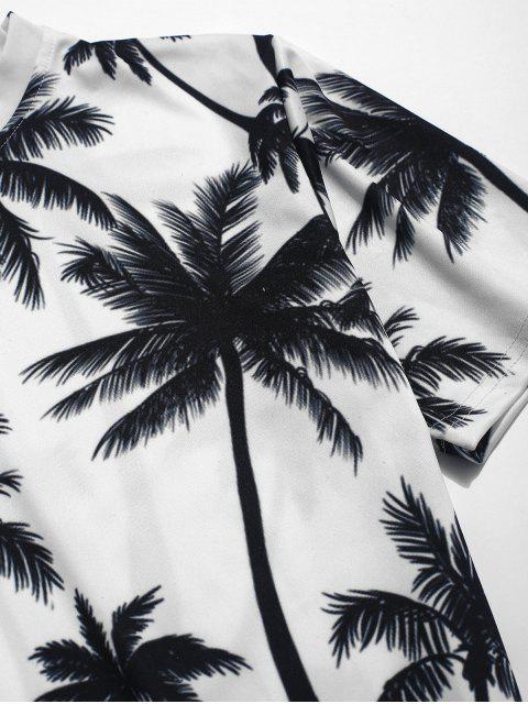 棕櫚樹打印海灘T卹 - 白色 M Mobile