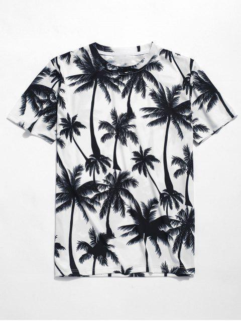 Camiseta playa estampado palmeras - Blanco XL Mobile