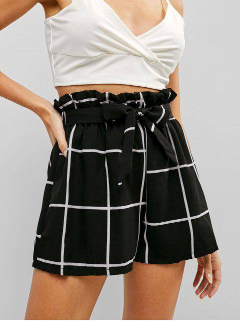 women High Rise Plaid Belted Frilled Shorts - BLACK S Mobile