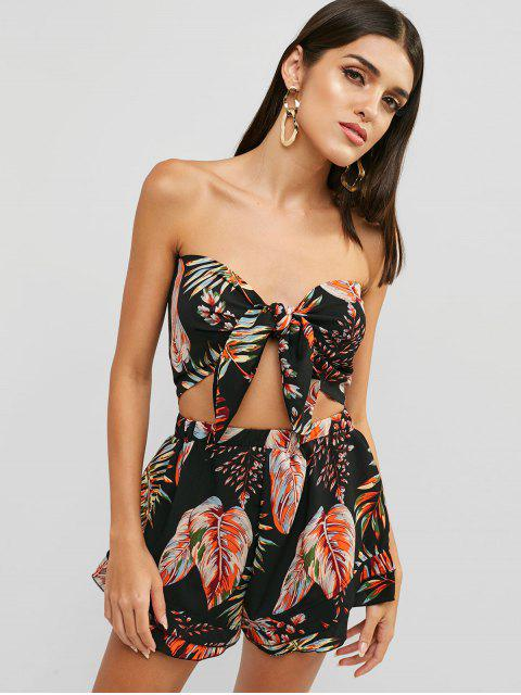 chic Leaf Print Tube Top and Shorts Set - BLACK S Mobile